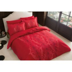 Постельное белье Tac сатин Delux Mauna kirmizi v04 красное