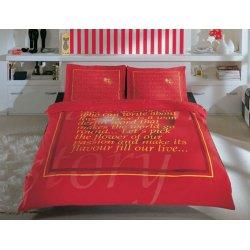 Постельное бельё Tac сатин Valentine kirmizi красное евро
