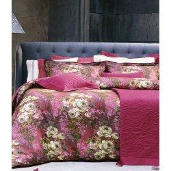 Элитное постельное бельё Valeron USC Flora V01 Fusya сатин евро