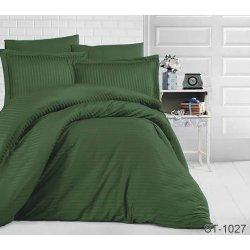 Постельное бельё сатин-страйп TAG ST-1027 тёмно-зелёное