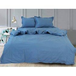 Однотонное постельное белье TAG сатин Blue Grey