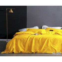 Однотонное постельное бельё Tag сатин S433 желтое