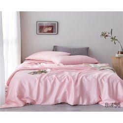 Однотонное постельное бельё Tag сатин S436 светло-розовое