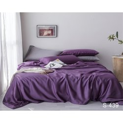Однотонное постельное бельё Tag сатин S439 фиолетовое