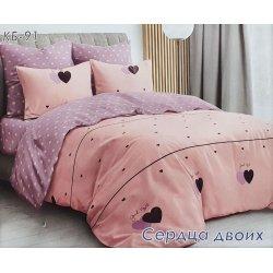 Постельное белье Тиротекс бязь Сердца двоих розовое