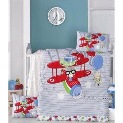 Детское постельное бельё в кроватку для новорожденных Victoria Flying ранфорс