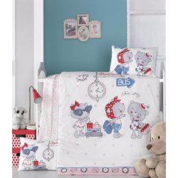 Детское постельное бельё в кроватку для новорожденных Victoria Pink Station ранфорс