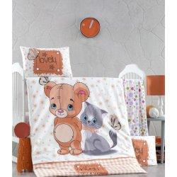 Детское постельное бельё в кроватку для новорожденных Victoria Mouse and cat ранфорс