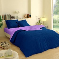 Постельное белье Премиум Сатин Двухсторонний фиолетово-синее